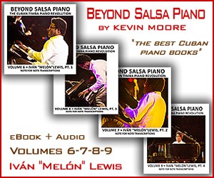 Beyond Salsa Piano is a history and anthology of the role of the piano in the Cuban rhythm section – from its first appearance to the present. In a broader sense, it's a study of the tumbao – the art of creating music from layers of repeating rhythmic and melodic phrases. Whether these syncopated figures are called tumbaos, guajeos, montunos, riffs or vamps, this Afro-Cuban concept lies at the heart of nearly every popular music genre from salsa to rock , funk, R&B, hiphop and jazz.